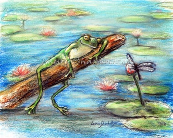 "Frog, Original art pastel painting, dragonfly, nursery, baby cute wildlife, toad, ""Are Your Sleeping Little Frog?""  Laurie Shanholtzer"