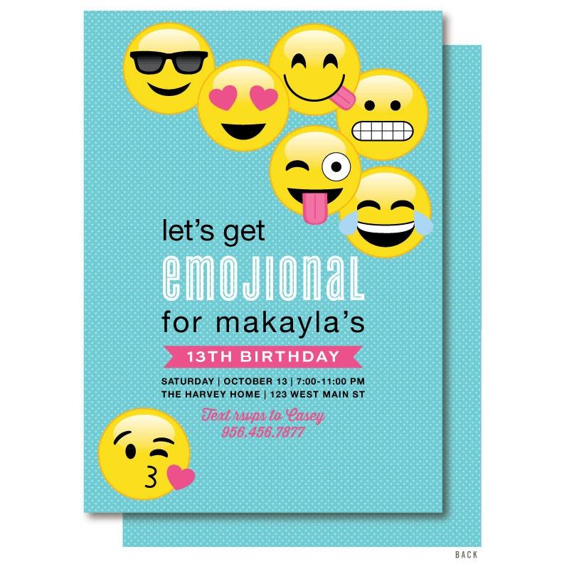 Emoji Birthday Invitation Emoticon Emoji Birthday Party