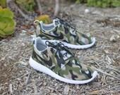 Camo Roshe One - Hand Painted Custom Sneakers - Camo Nike Roshe Run - Custom Camouflage Pattern