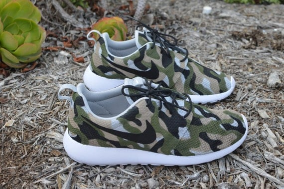 edb69569f35f Camo Roshe One Hand Painted Custom Sneakers Camo by BStreetShoes on sale