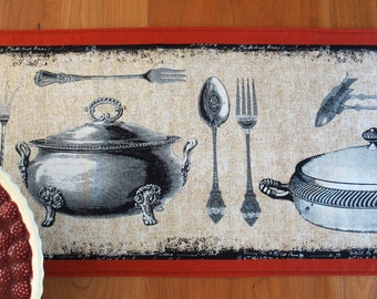 French Bistro Table Runner, Centerpiece Runner, Antique Cookware, Michael Miller Bon Appetit