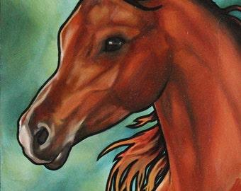 Original Horse Oil Painting 11x17in