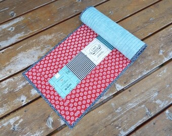 Table Runner, Table topper, quilted table runner, primitive table runner, feed company, retro, red white blue, feed store, aqua