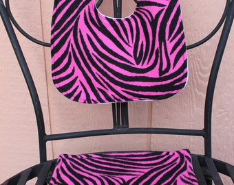 Pink Zebra Bib & Burp Cloth Set