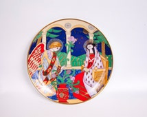 Vintage Faberge Christmas Plate Collector Plate THE ANNUNCIATION 24 Karat Gold Franklin Mint Russian Style