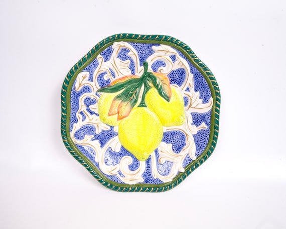 Vintage fitz and floyd lemon plate canape plate majolica for Fitz and floyd canape plate