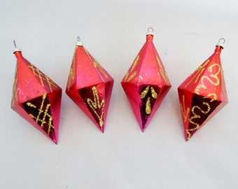 Red Diamond Shaped Christmas Ornaments with Gold Glitter Set of Four Holiday Tree Decorations