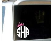 Crown Monogram Decal Princess Crown Monogram Car Decal Vinyl Decal Initials Monogram Southern Preppy Decal Crown Car Decal Personalized