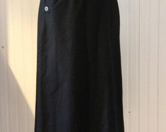 Vintage Black Wool A-Line Skirt Dead Stock, Vintage Size 14