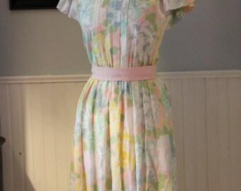 Vintage Floral Lanz Original Pastel Dress Size 7/8