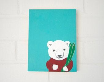 Chalkboard - Baby Polar Bear with Ski's