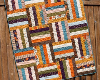 Perfectly Seasoned Quilt, Fall Quilt, Fall Lap Quilt, Lap Quilt, Purple Brown Orange Teal, Black, Handmade Quilt, Blanket, Throw, Moda Quilt