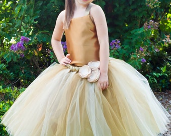 Flower Girl Tutu Dress Floor Length Sewn Tutu Dress Champagne Antique Gold with Satin Corset Satin Flower Hair Clip 6 months-10 CUSTOMIZABLE
