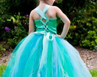 Mermaid Ocean Theme Flower Girl Tutu Dress Floor Length Sewn Tutu Dress with Satin Corset Style Top and Satin Flower Hair Clip CUSTOMIZABLE
