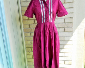 Sale Vintage 1950s Burgundy Cotton Day Dress Size Small Medium