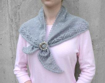 Gray Knit Shawl, Lace Shawlette, Shoulder Warmer, Neck Scarf, Office Formal Wedding, Women's accessory