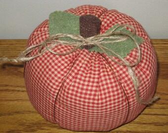 SALE Fabric Pumpkin - Red Homespun Fabric - Halloween Pumpkin - Fall Decor - Thanksgiving Decor - Hostess Gift