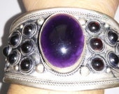 Tibetan Amethyst Silver Nepalese Cuff Bracelet
