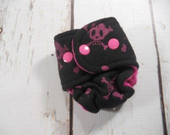 Doll diapers, Teddy Animal Cloth Diapers Snap Pink Skulls Crossbones Bumstoppers