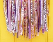 fabric garland, ribbon garland, garland decoration, ribbon banner, garland wall hanging, party decor, photo backdrop, party photo prop