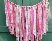 pink fabric garland, ribbon garland, garland decoration, ribbon banner, garland wall hanging, boho ribbon decor, photo backdrop by greenbug