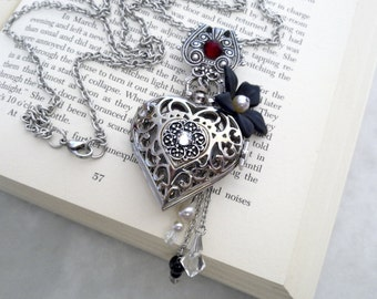 Pocket Watch Pendant Necklace - Swarovski Crystals and Pearls - Filigree Heart - Victorian Gothic Locket Jewelry