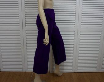 Vintage 1960s Purple Bell Bottoms Wool Blend Size 13/14