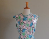 Vintage 50s Smock/Bib Apron, Pink, Sky Blue Floral,  Country Cute