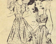1940s Dress or Halter Playsuit and Panties Pattern: Square Neck , Short or Long Sleeve Dress Mail Order Clotilde. Size 15 Bust 33 Hip 36