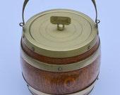 Edwardian Oak Biscuit Barrel Vintage Ice Bucket with Ceramic Liner and Silver Plate Mounts Made in England Vintage Biscuit Barrel