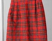 Cute Red Plaid 90s High-Waisted Skirt