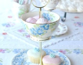 2 tier mini cake stand / jewelry display: blue fine bone china tiered stand, perfect for party tidbits and treats