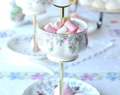 Pretty little 2 tier jewelry display / mini cake stand / tidbit holder English bone china tiered stand, perfect for party treats or trinkets