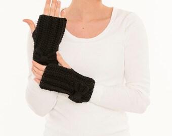 Black Bow Crochet Fingerless Gloves, Handmade Crocheted Women's Warm Soft Winter Accessory, Knitted Texting Gloves, Knit Hand Warmers