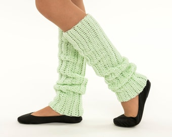 SALE--Mint Knit Leg Warmers, Crocheted Leggings, Handmade Women's Warm, Soft, Winter Accessory, Dance Wear, Exercise, Ballet, 80's Style