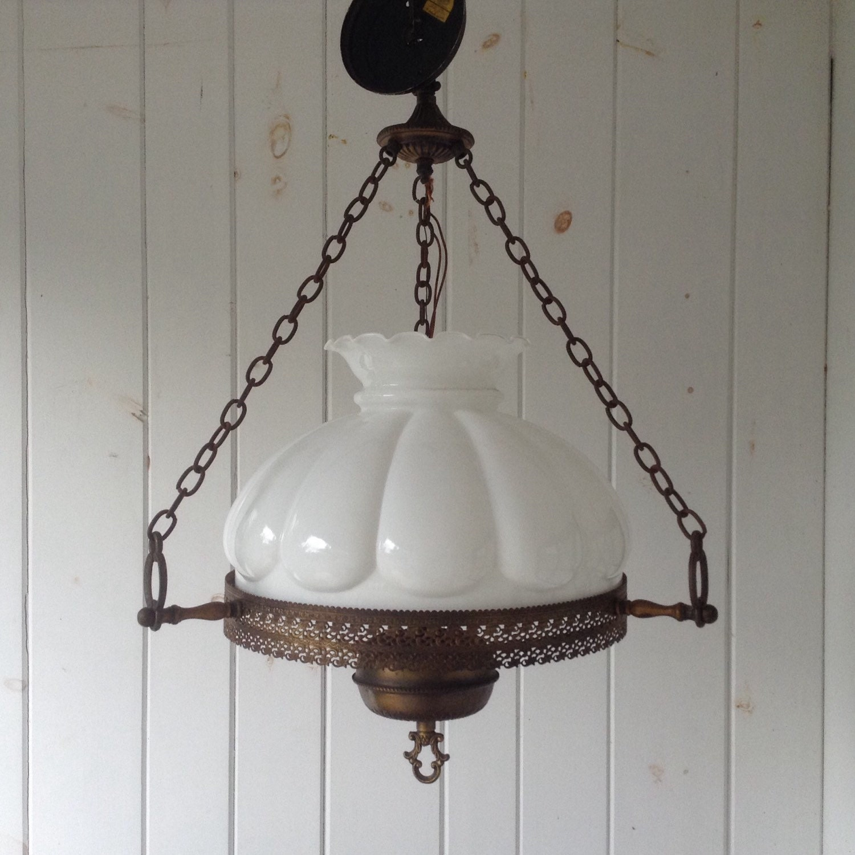 Large Antique Milk Glass Hanging Light Fixture Hurricane