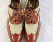 Vintage Stuart McGuire Men's Leather Wingtip Shoes- Size 12- Terracotta Brown with Beige Perforated Accents- Stacked Leather Heel- Like New!