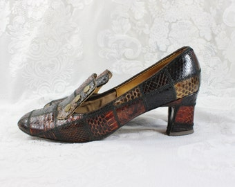 Vintage Woman's Shoes- Earth Tone Snake Leather- Heeled Pumps- Size 5-1/2 to 6 - Spiegel Brand