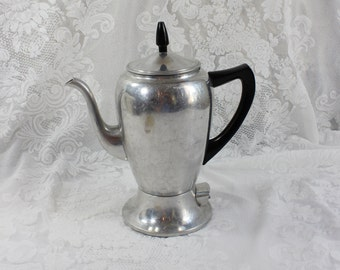 Antique Mirro-Matic 5 Cup Electric Percolator Coffee Pot- Works! - Vintage aluminum- Urn Shape
