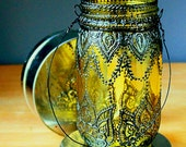 Mehndi Henna Design Inspired, Hand Painted Mason Jar Hanging Lantern, Lemon Tinted Glass with Black Accents
