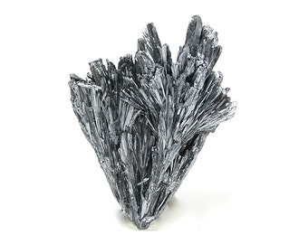 Steel Gray Metallic Stibnite Crystal Cluster, mined in Peru Mineral Specimen Spiky! Brilliant Cluster