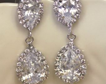 Vintage Bridal Earrings, Wedding ,Swarovski Crystal,  chandelier bridal earrings, Drop earrings, kim kardashian , Cubic Zirconia,Statement