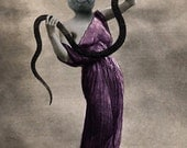 Elysia, Vintage Cat Print, Anthropomorphic, Altered Photo, Photo Collage Art, Whimsical Art, Snake Print, Unusual Gift Idea, Creepy Art