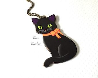 Black Cat Halloween Necklace. Cute Cat Jewelry. Wood Jewelry. Orange Ribbon. Spooky Black Cat Jewelry. Lightweight. Vintage Brass Chain.