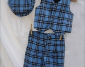 Little Boy Blue and Black Plaid Size 1-2yrs  Shorts, Vest ,  blue ringbearer outfit, little Boy suit, Birthday outfit for boys ,