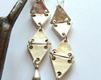 Earrings, Long Silver Triangle Dangle Earrings, Geometric, Industrial, Modern Silver Triangle Earrings, Long Steampunk Earrings