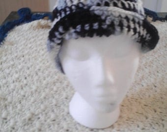 Black, grey, and white hat