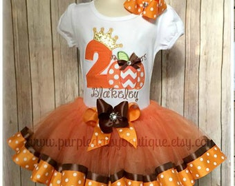 Pumpkin Princess Ribbon Trim Tutu Pumpkin Birthday Outfit