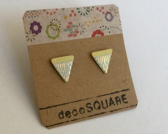 SALE / Porcelain triangle stud earrings- yellow sky blue, gold small geometric post earrings, studs, gift for her