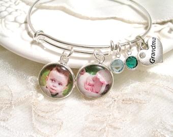 Photo Charm Bracelet Message Charm Bangle Mom Gift Grandmom Gift Mother's Birthstone Bracelet Mother of the Bride Mother of the Groom gift